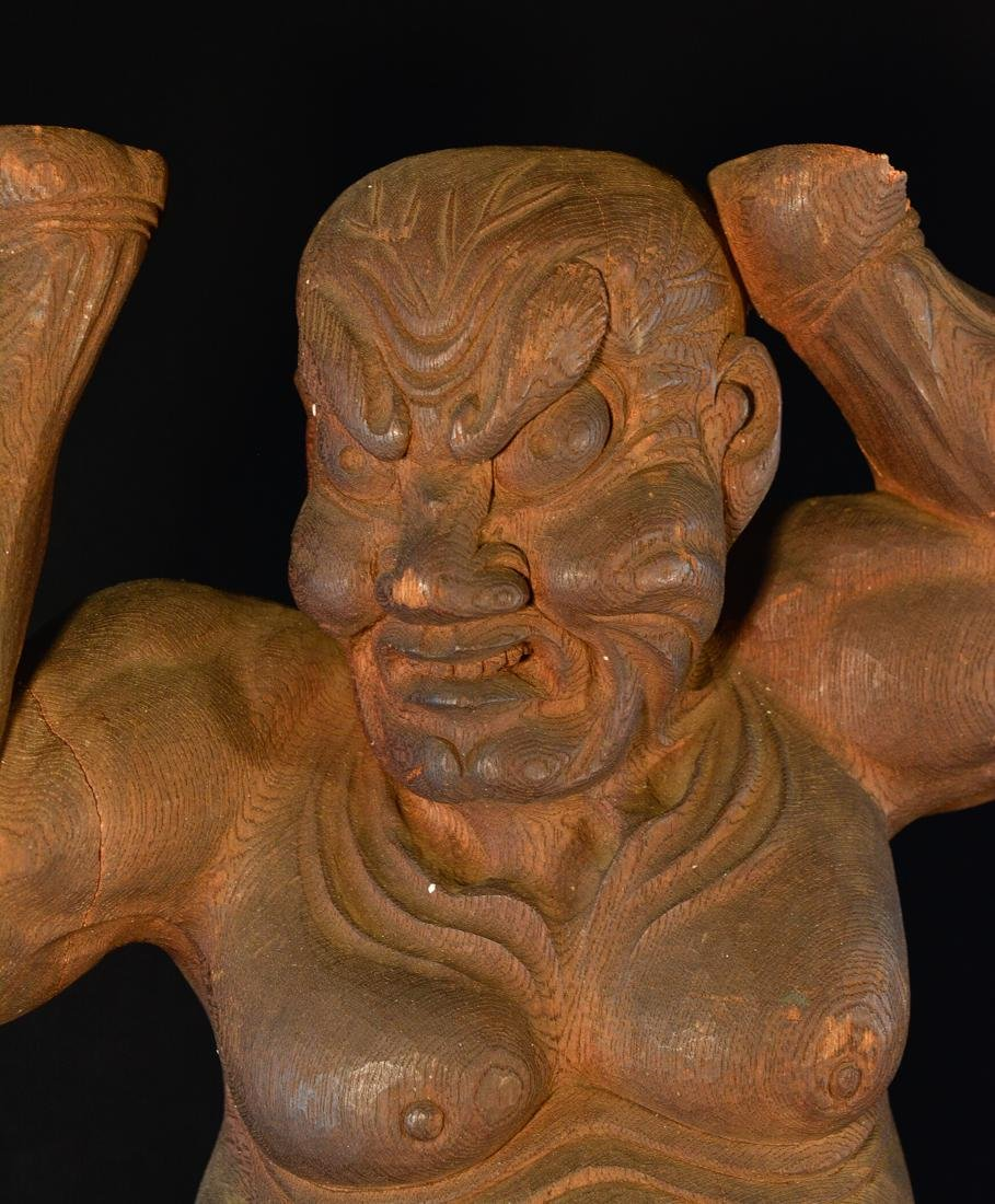 Pair Large Japanese Carved Wood Guardians - 4
