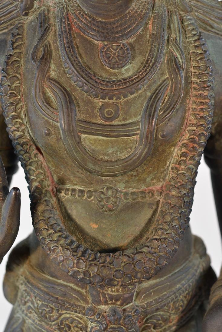 Unusual Southeast Asian Nepalese Bronze Buddha with - 6