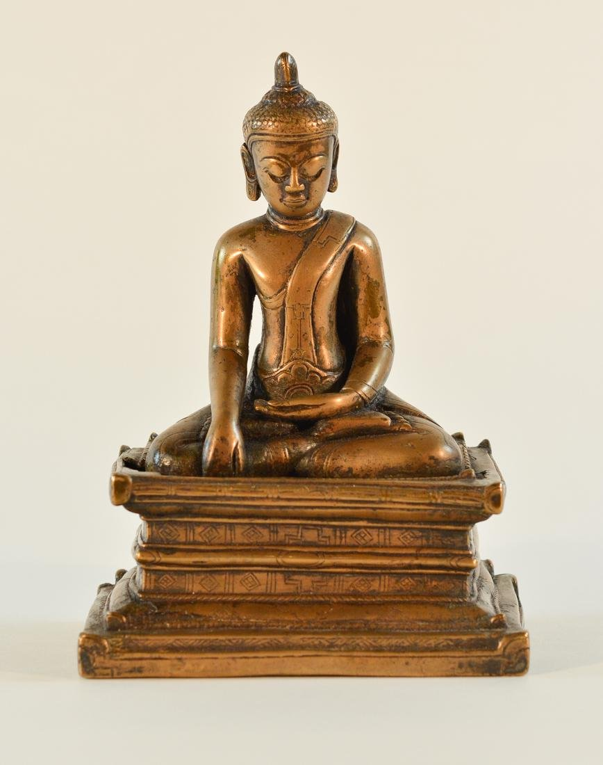 Early Tibet Bronze Buddha Seated on Square Base