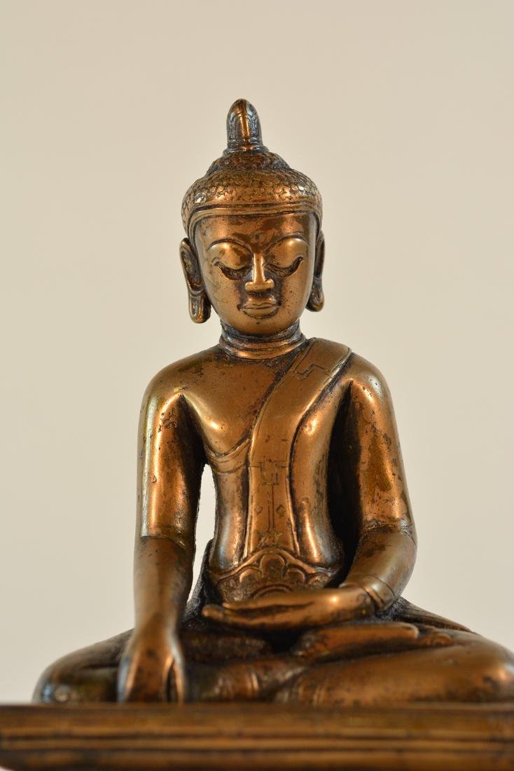 Early Tibet Bronze Buddha Seated on Square Base - 2