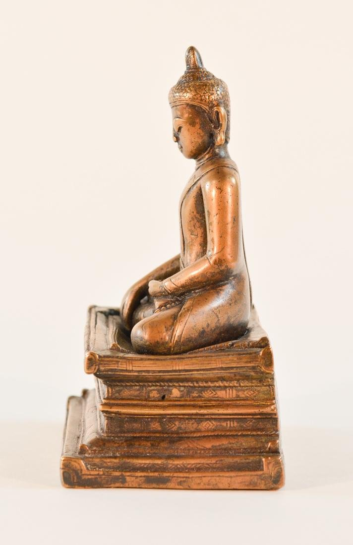 Early Tibet Bronze Buddha Seated on Square Base - 4