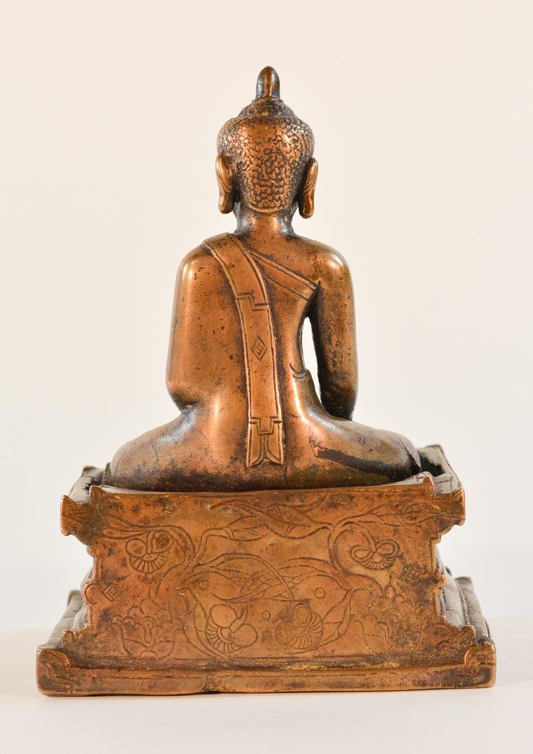 Early Tibet Bronze Buddha Seated on Square Base - 5