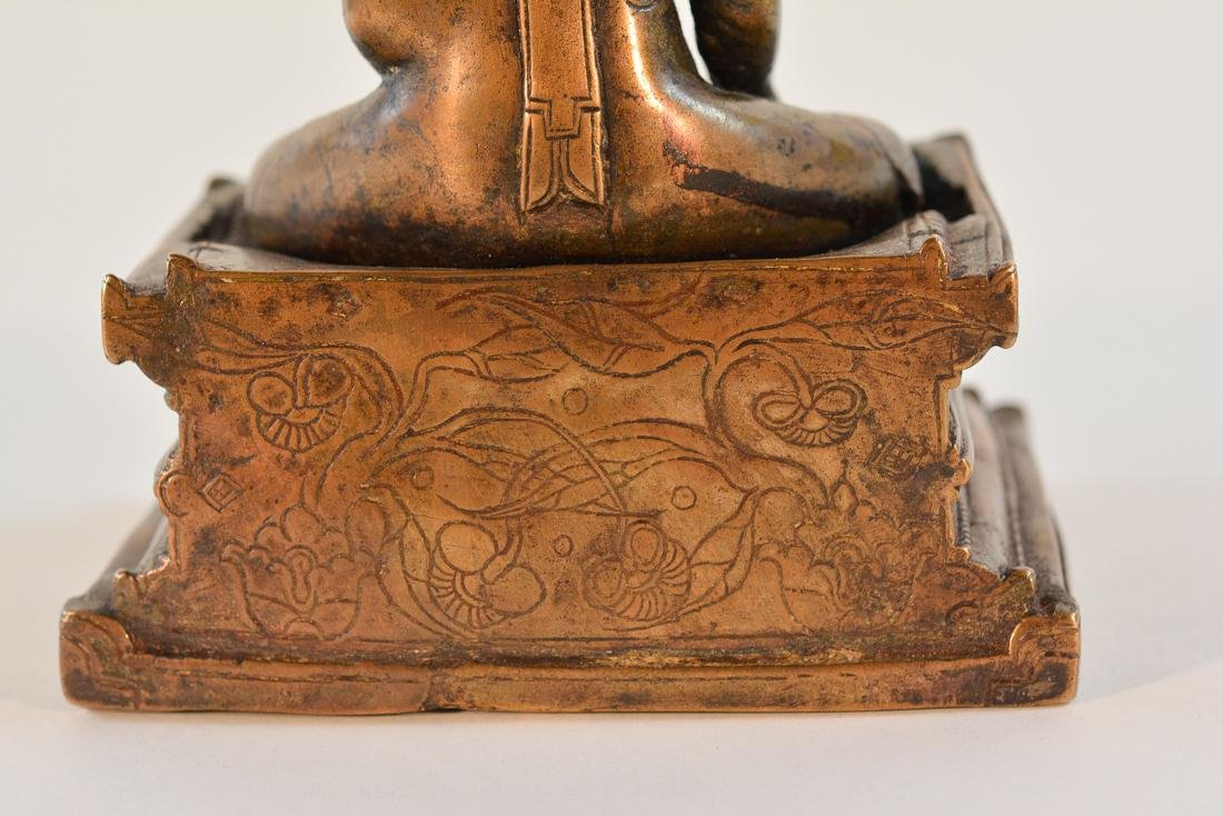 Early Tibet Bronze Buddha Seated on Square Base - 7
