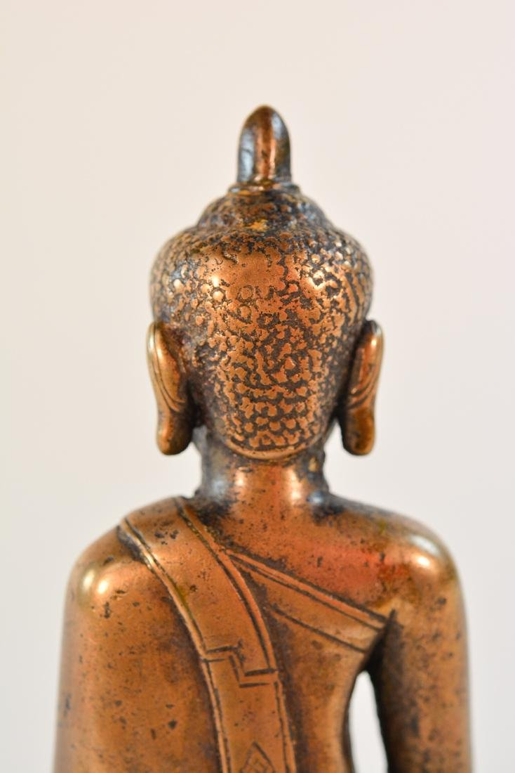 Early Tibet Bronze Buddha Seated on Square Base - 9