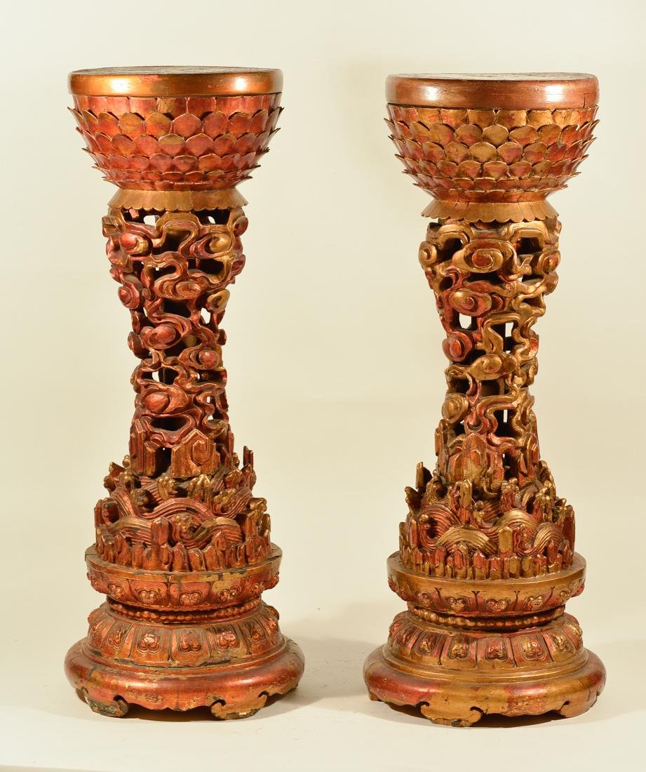 Pair of 18th cen Imperial Buddhist Wood Altar Pedestal
