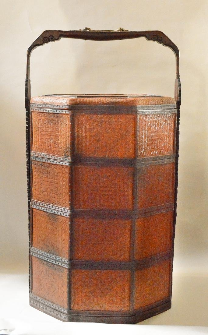 Very Large Floor Size Chinese Bamboo Box Basket
