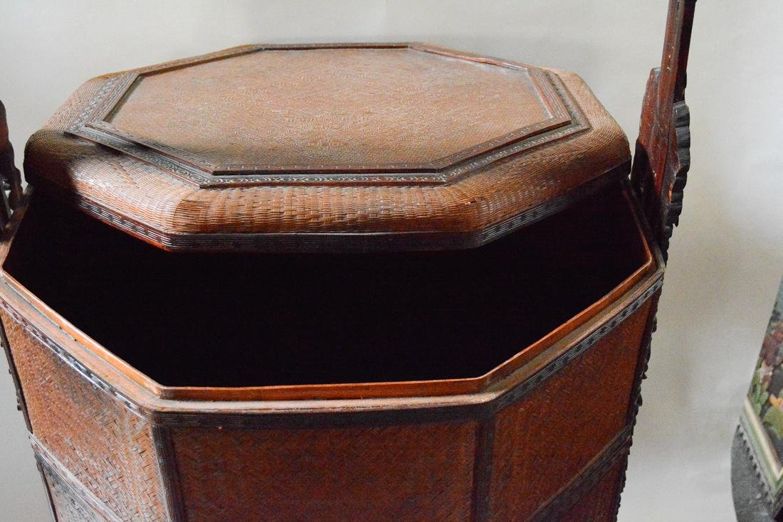 Very Large Floor Size Chinese Bamboo Box Basket - 2