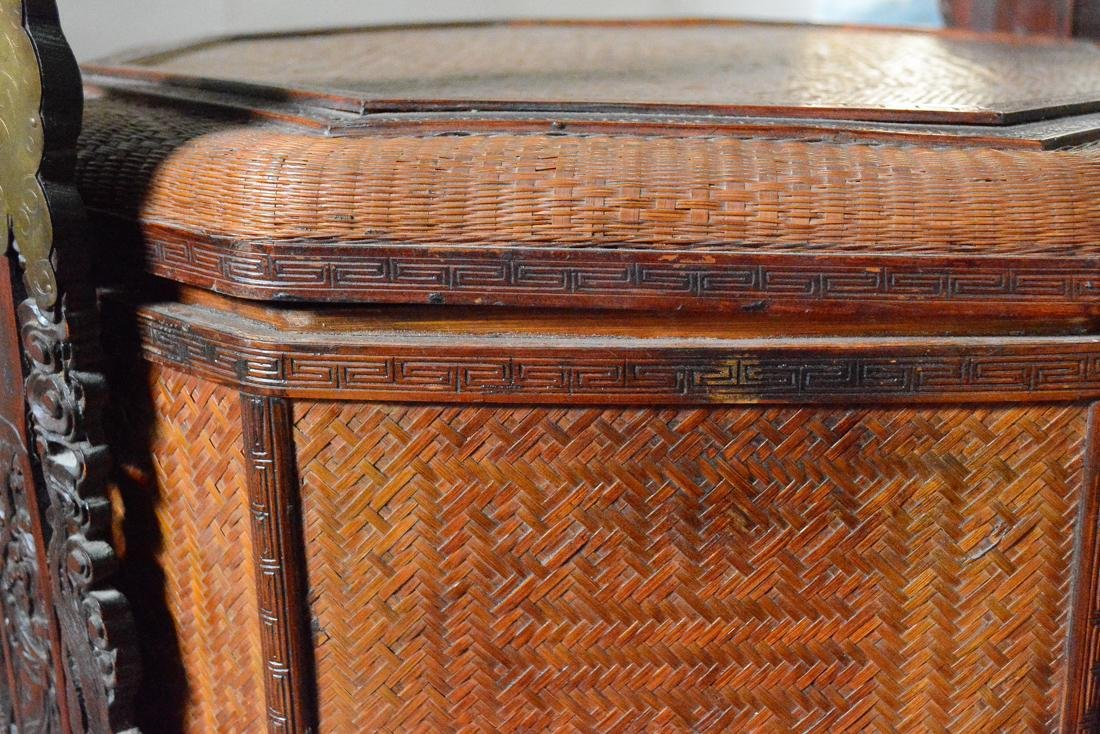 Very Large Floor Size Chinese Bamboo Box Basket - 4