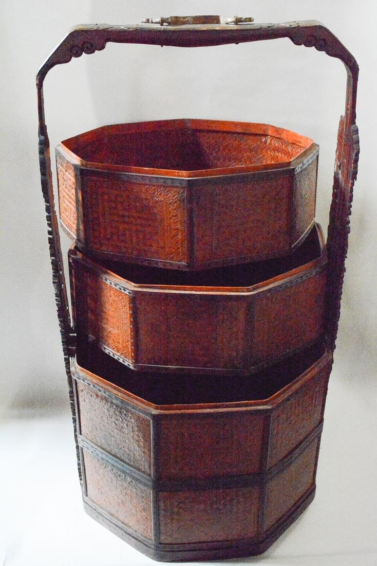 Very Large Floor Size Chinese Bamboo Box Basket - 7