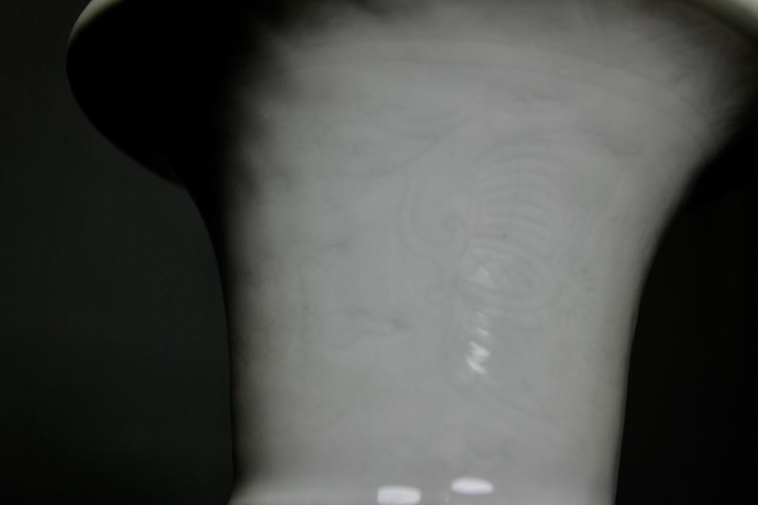 Chinese Ku Shaped Porcelain Vase with Incised - 3
