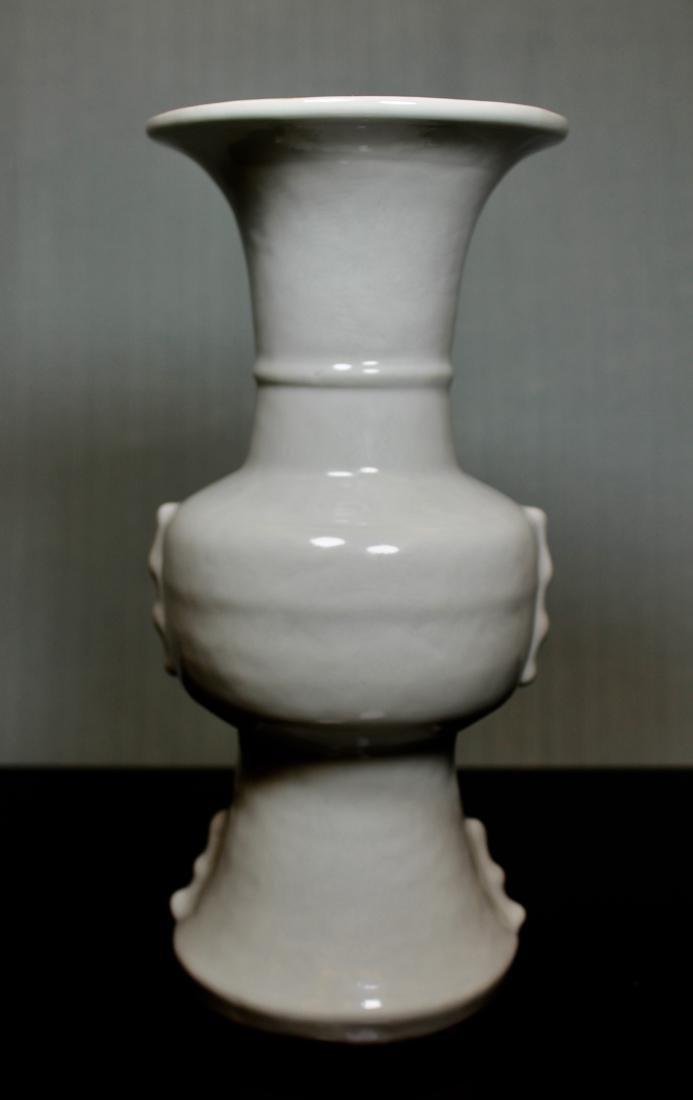 Chinese Ku Shaped Porcelain Vase with Incised - 4