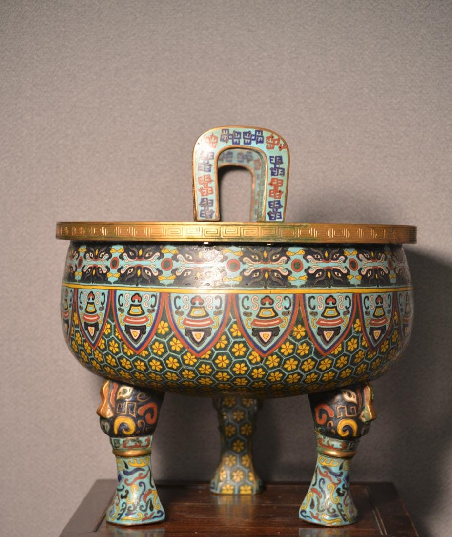 Chinese Cloisonne Censer of Massive Size
