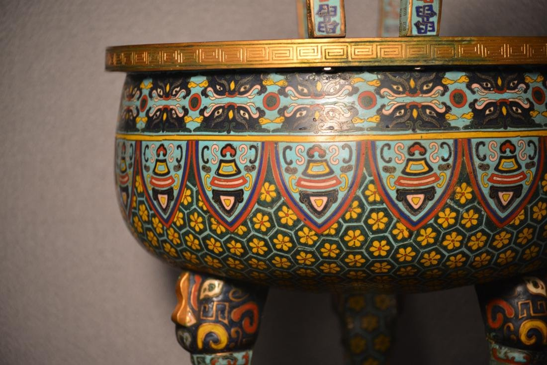 Chinese Cloisonne Censer of Massive Size - 2