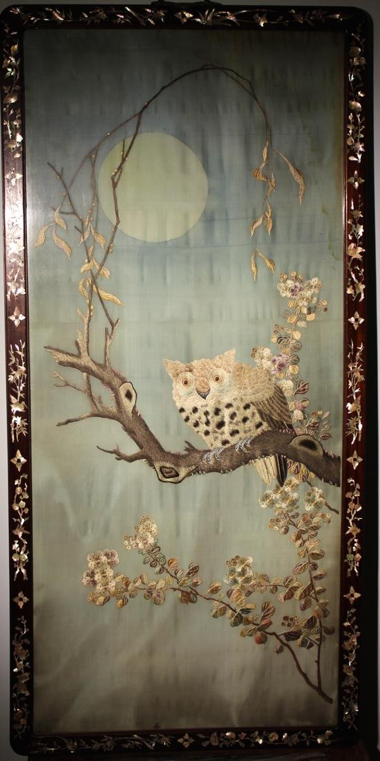 Chinese Embroidery Panel with Owl
