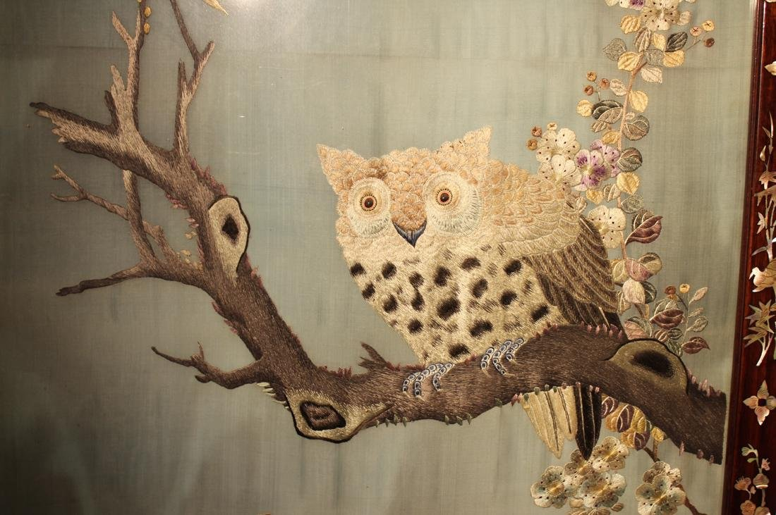 Chinese Embroidery Panel with Owl - 2