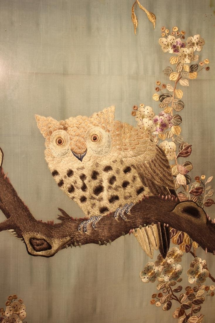 Chinese Embroidery Panel with Owl - 3