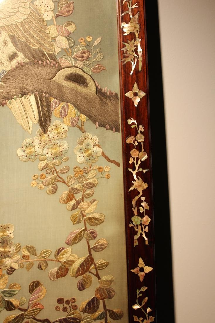 Chinese Embroidery Panel with Owl - 5