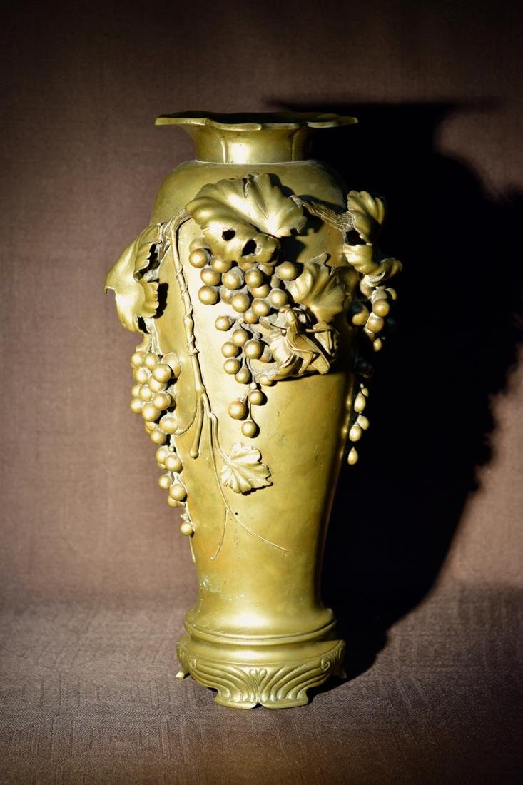 Japanese Bronze Vase with Praying Mantis