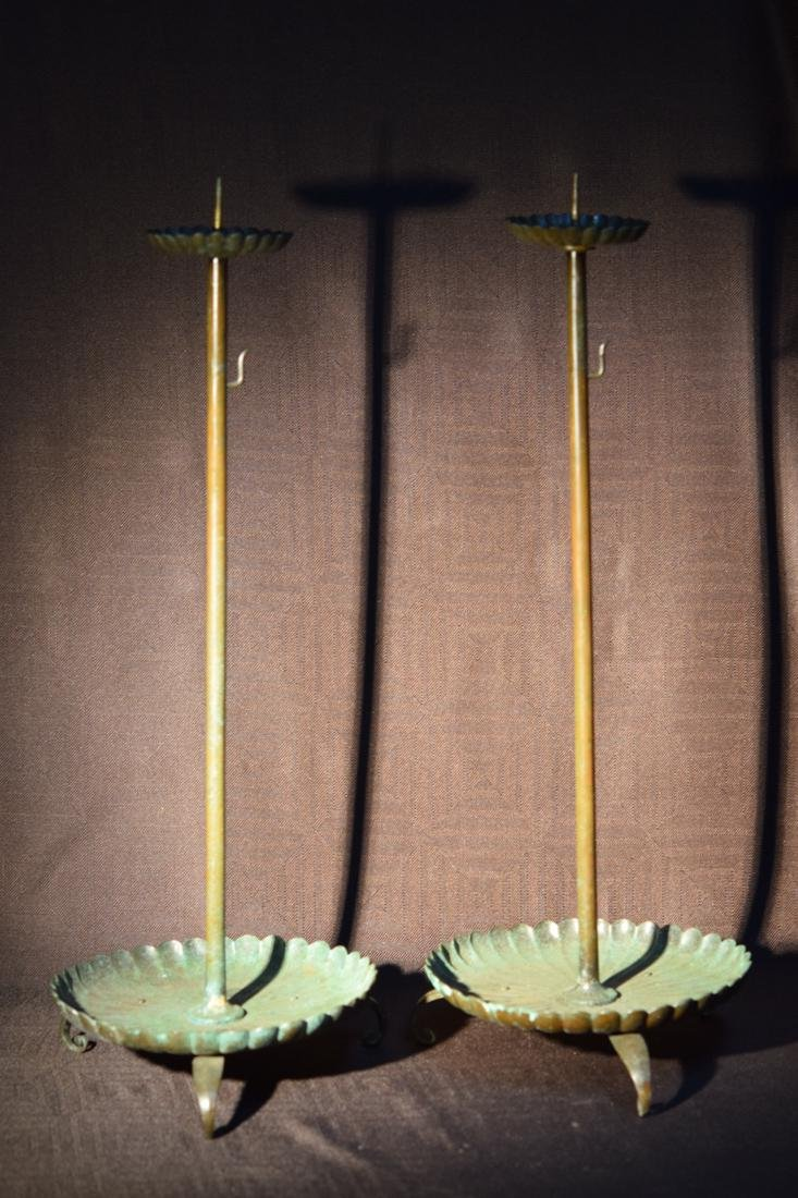 Pair Japanese Bronze Candle Stick with Chrysanthman