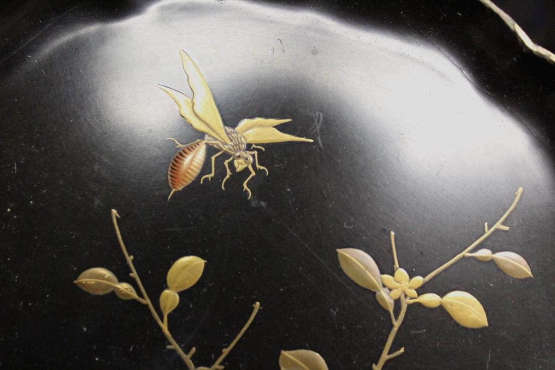 Japanese Lacquer Dishes with Insect - signed - Museum - 3