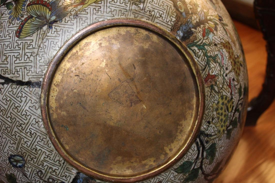 Massive Chinese Cloisonne Fishbowl with Bird Deer Scene - 10