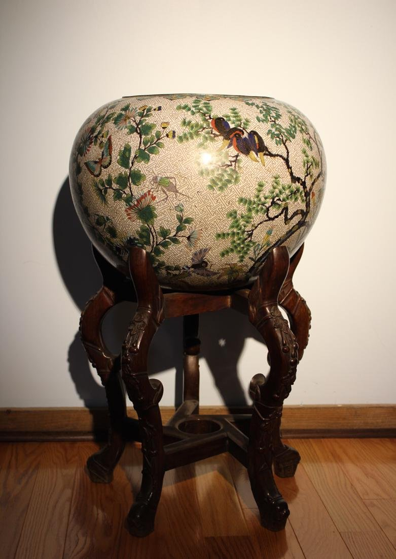 Massive Chinese Cloisonne Fishbowl with Bird Deer Scene