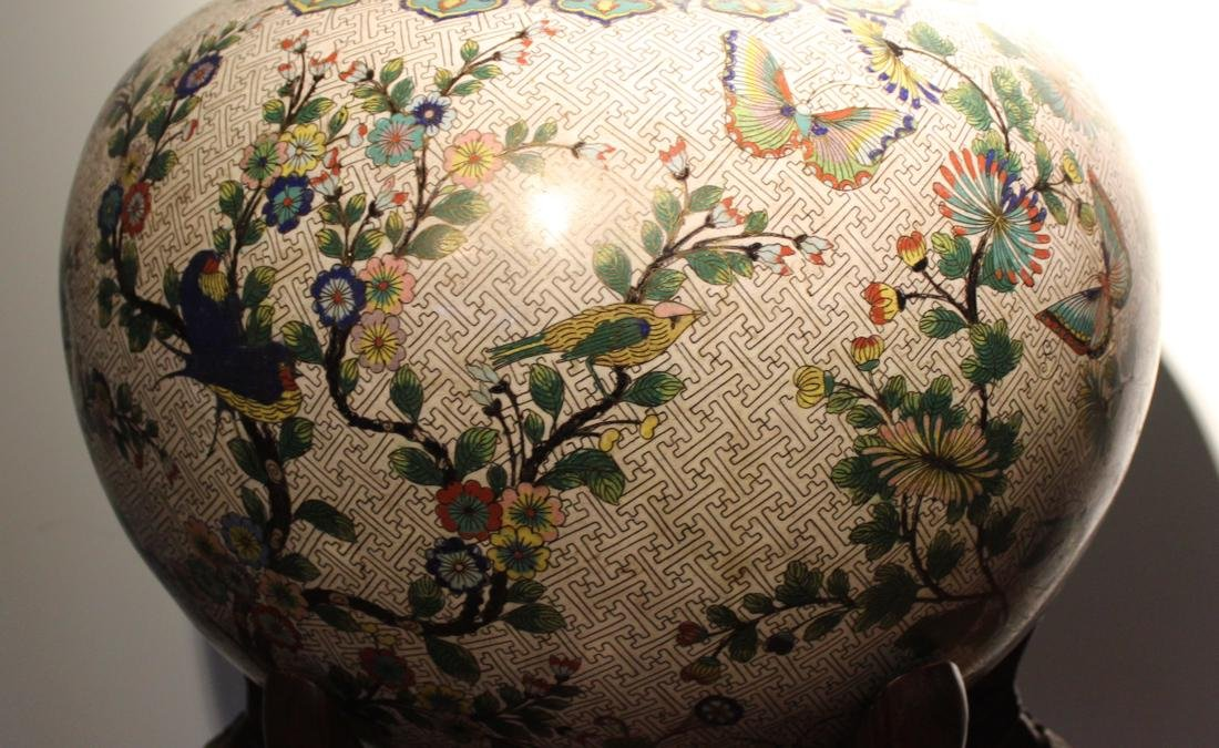 Massive Chinese Cloisonne Fishbowl with Bird Deer Scene - 3