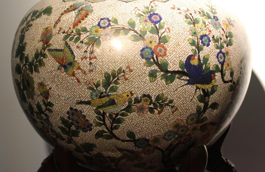 Massive Chinese Cloisonne Fishbowl with Bird Deer Scene - 4