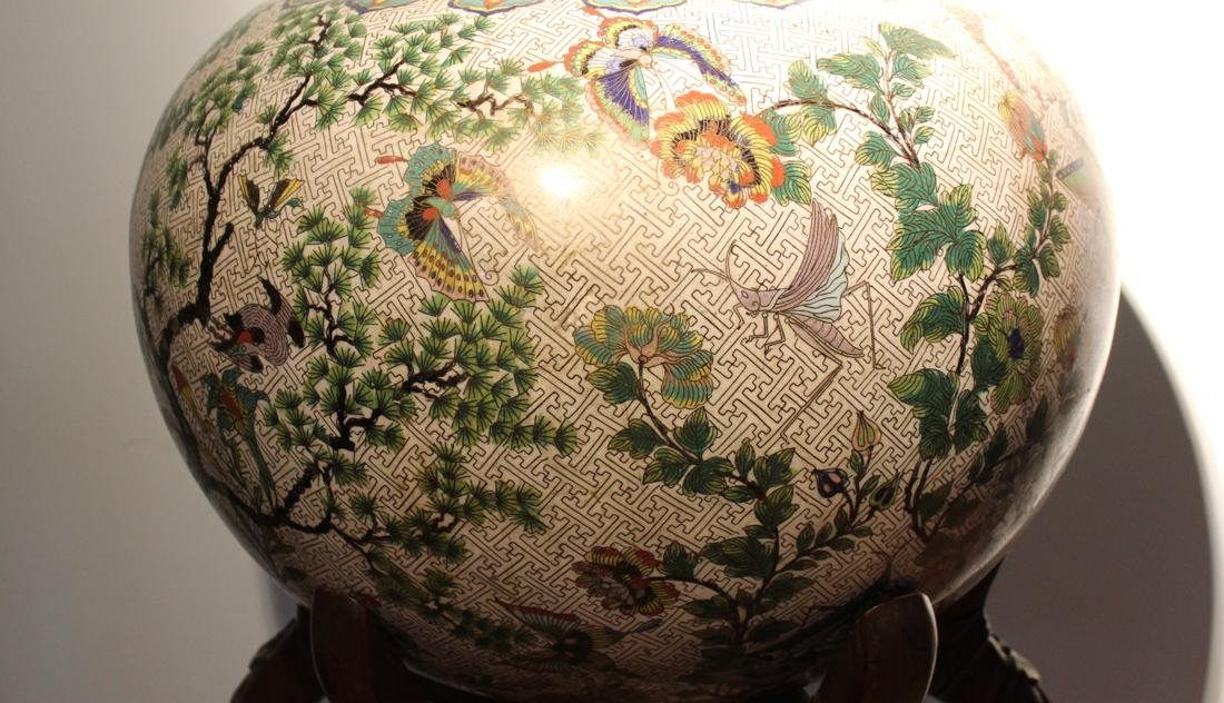 Massive Chinese Cloisonne Fishbowl with Bird Deer Scene - 5