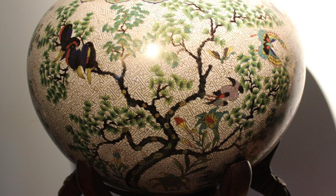 Massive Chinese Cloisonne Fishbowl with Bird Deer Scene - 6