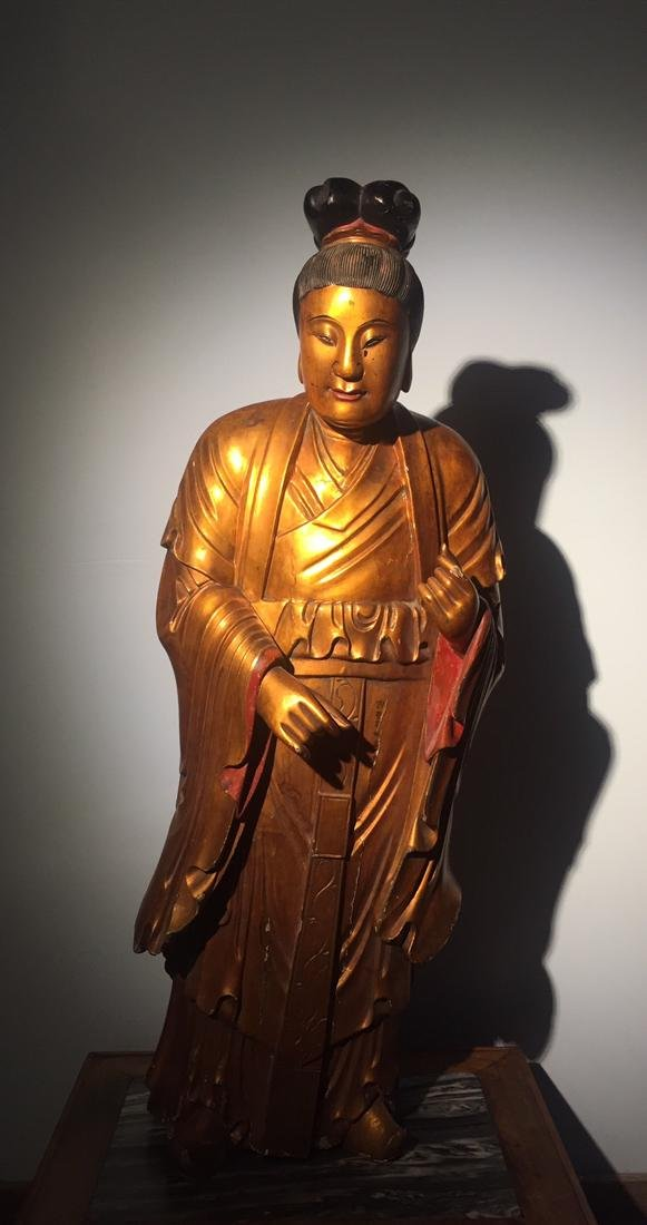 Large Chinese Lacqured Wood Kuanyin