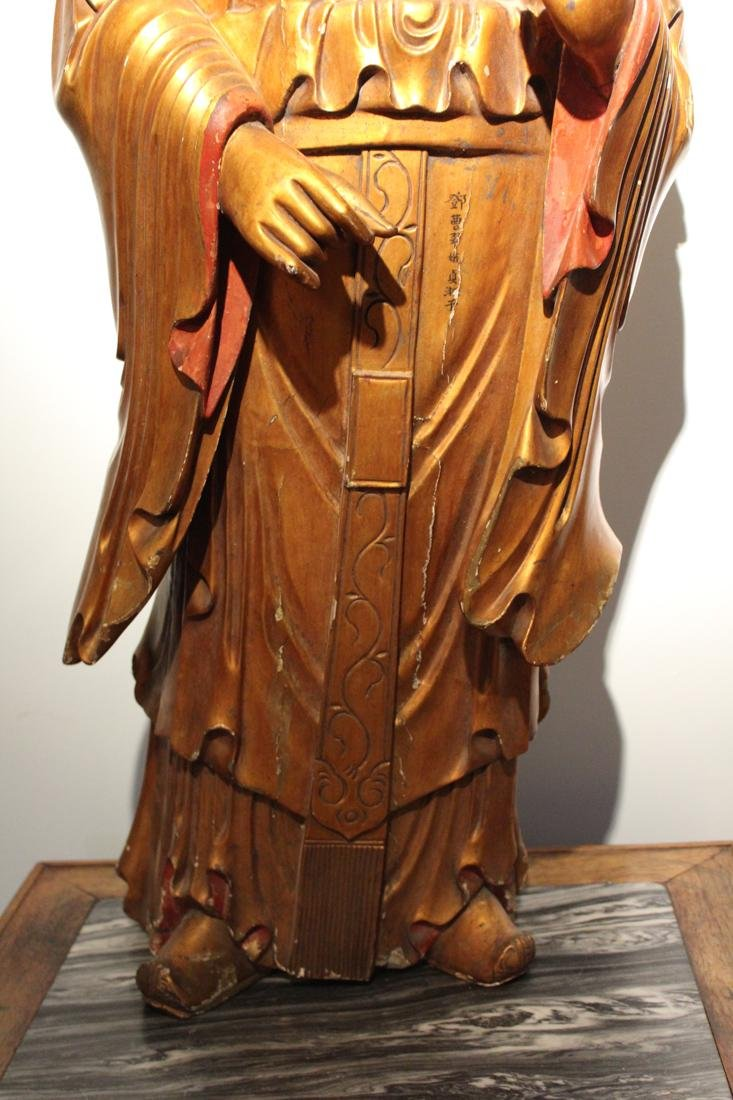 Large Chinese Lacqured Wood Kuanyin - 6