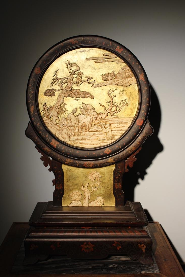 Chinese Table Screen with Elder Scene
