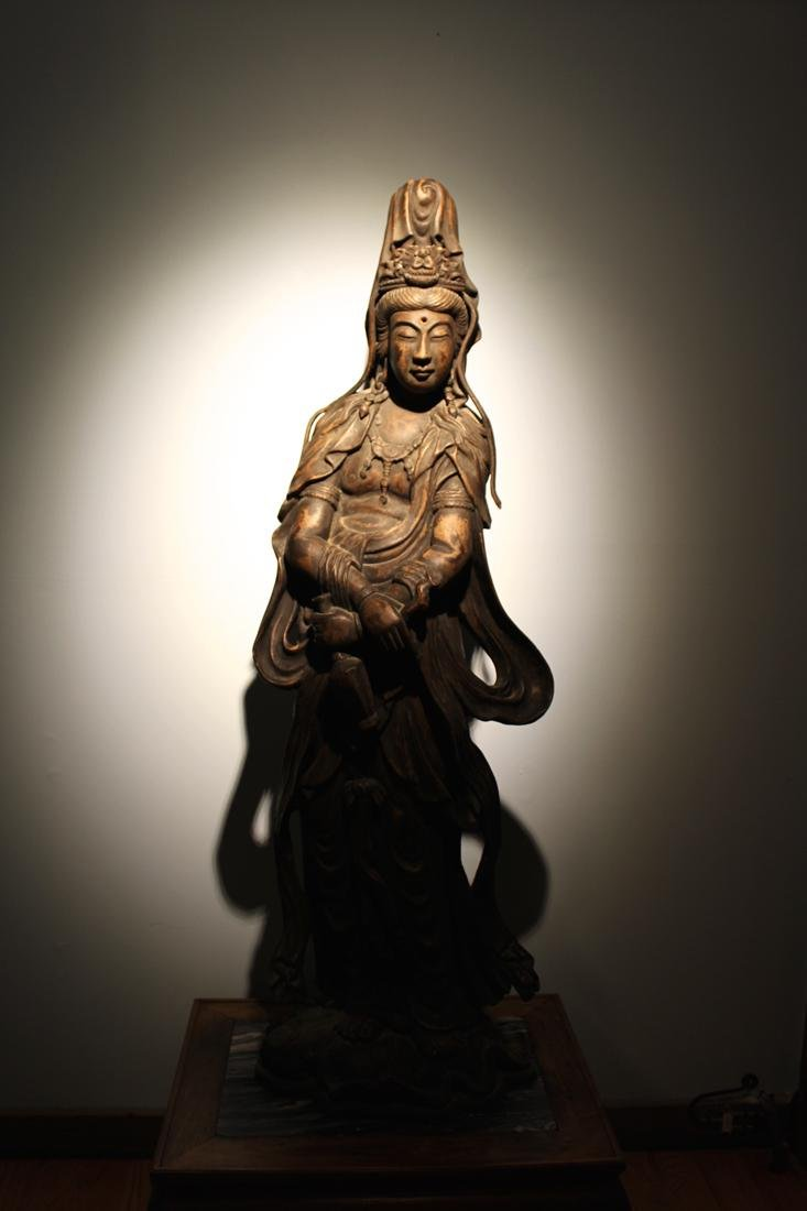 Large Chinese Wood Kuanyin with Lacquer