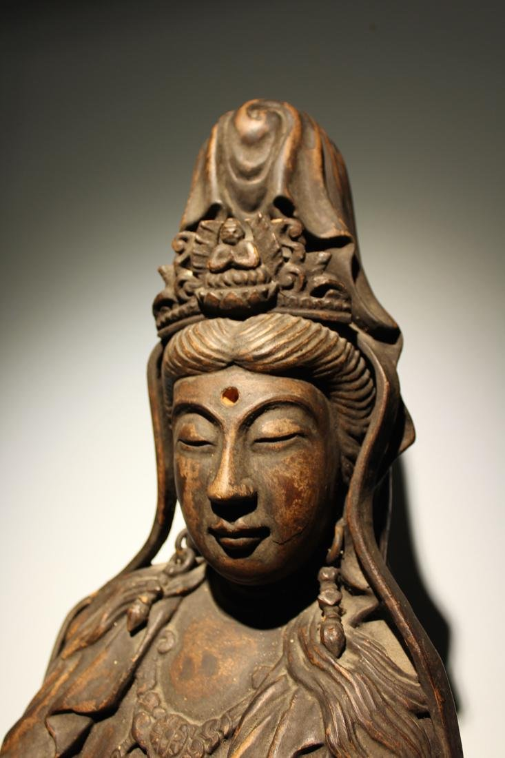 Large Chinese Wood Kuanyin with Lacquer - 2