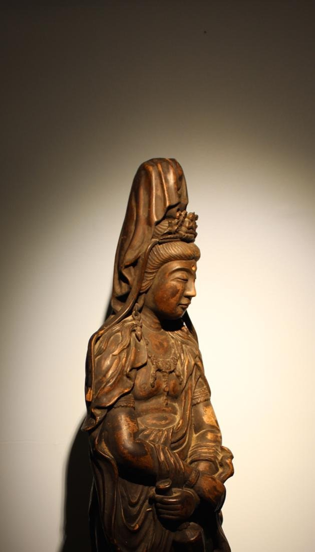 Large Chinese Wood Kuanyin with Lacquer - 5