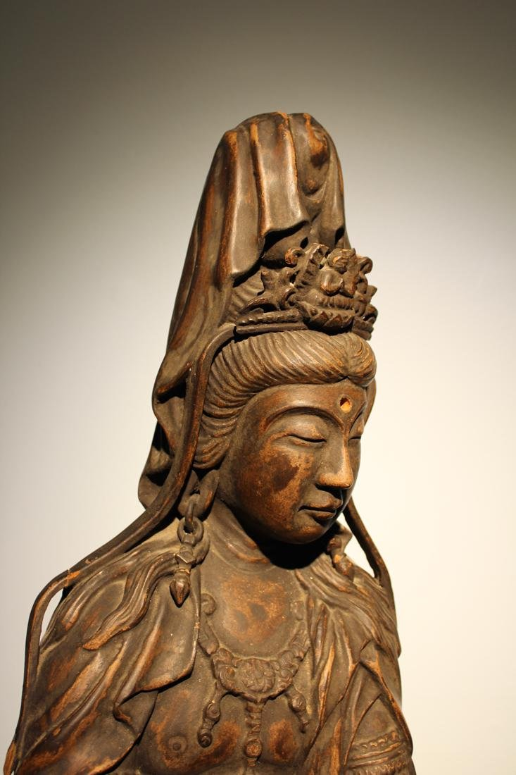Large Chinese Wood Kuanyin with Lacquer - 6