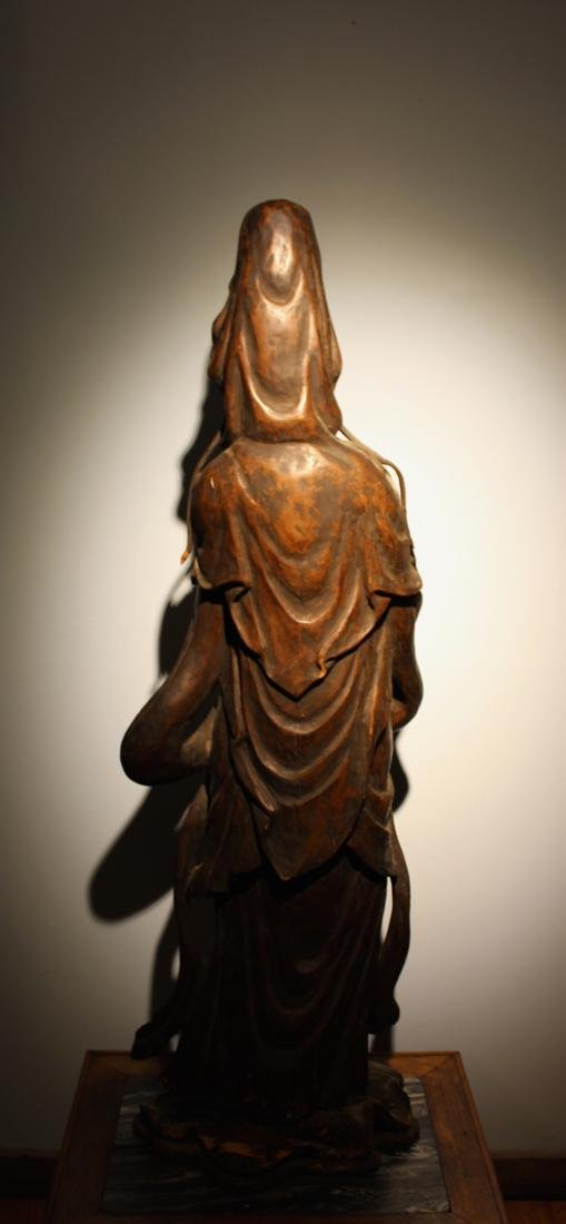 Large Chinese Wood Kuanyin with Lacquer - 7