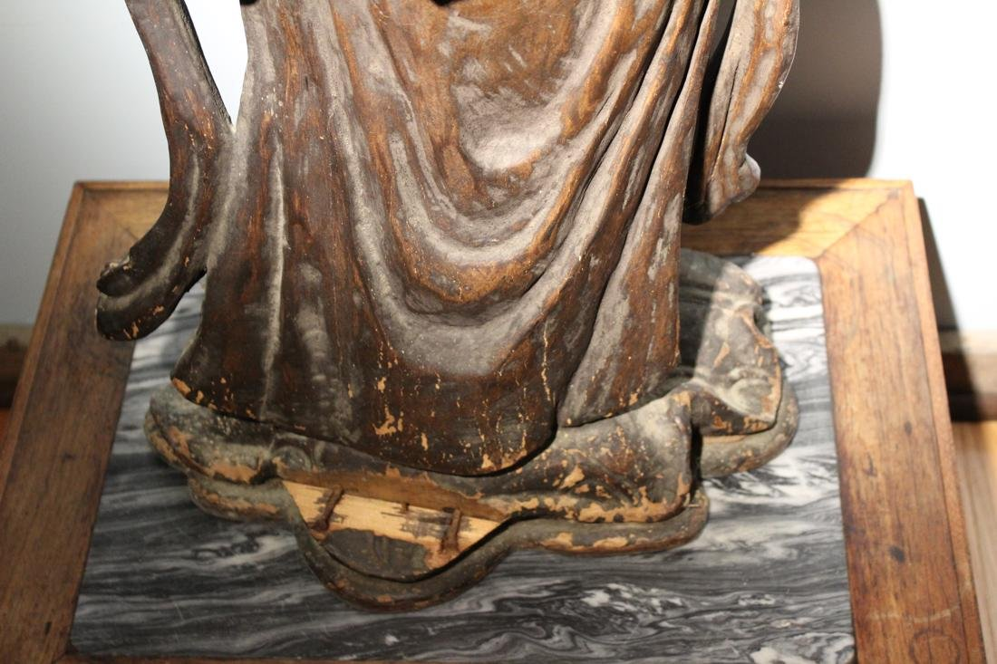 Large Chinese Wood Kuanyin with Lacquer - 8