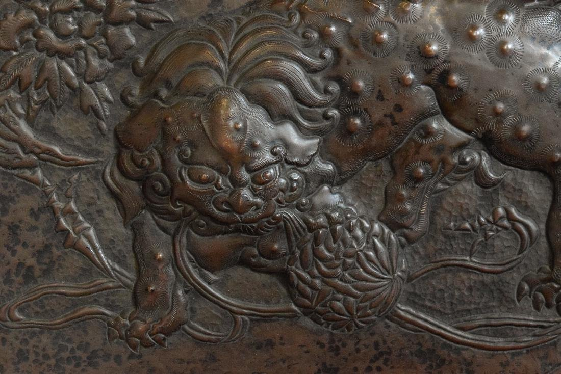 Japanese Copper Repousse Plaque of Temple Buddhist - 2