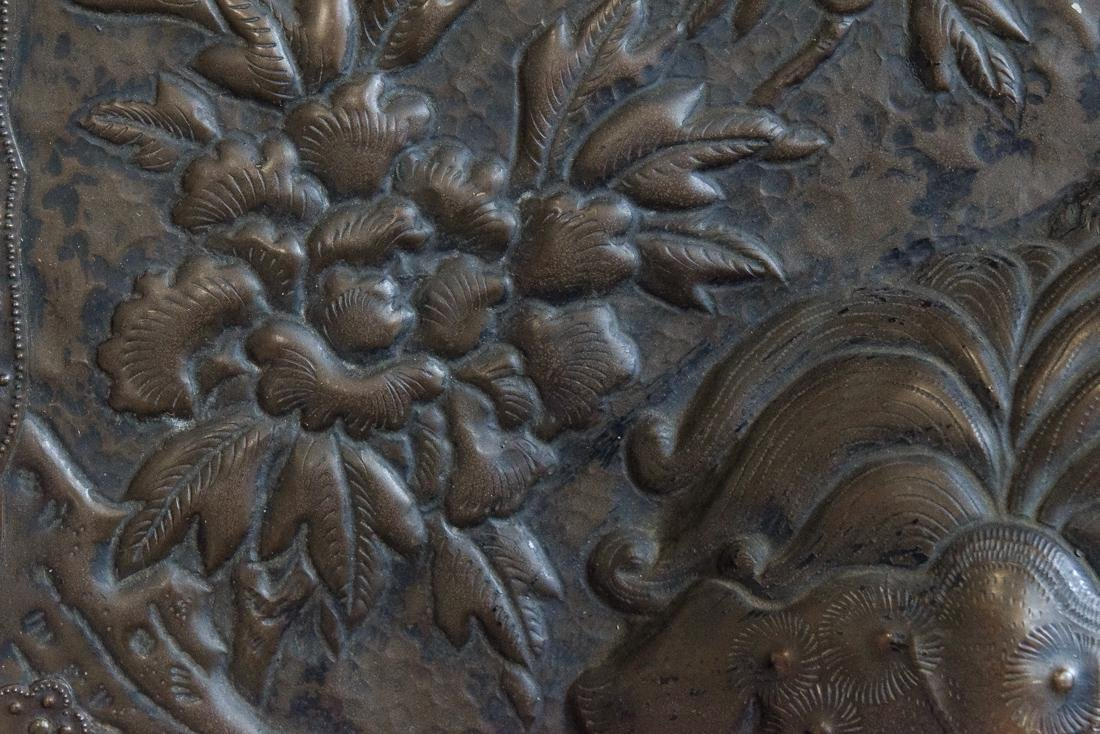 Japanese Copper Repousse Plaque of Temple Buddhist - 6