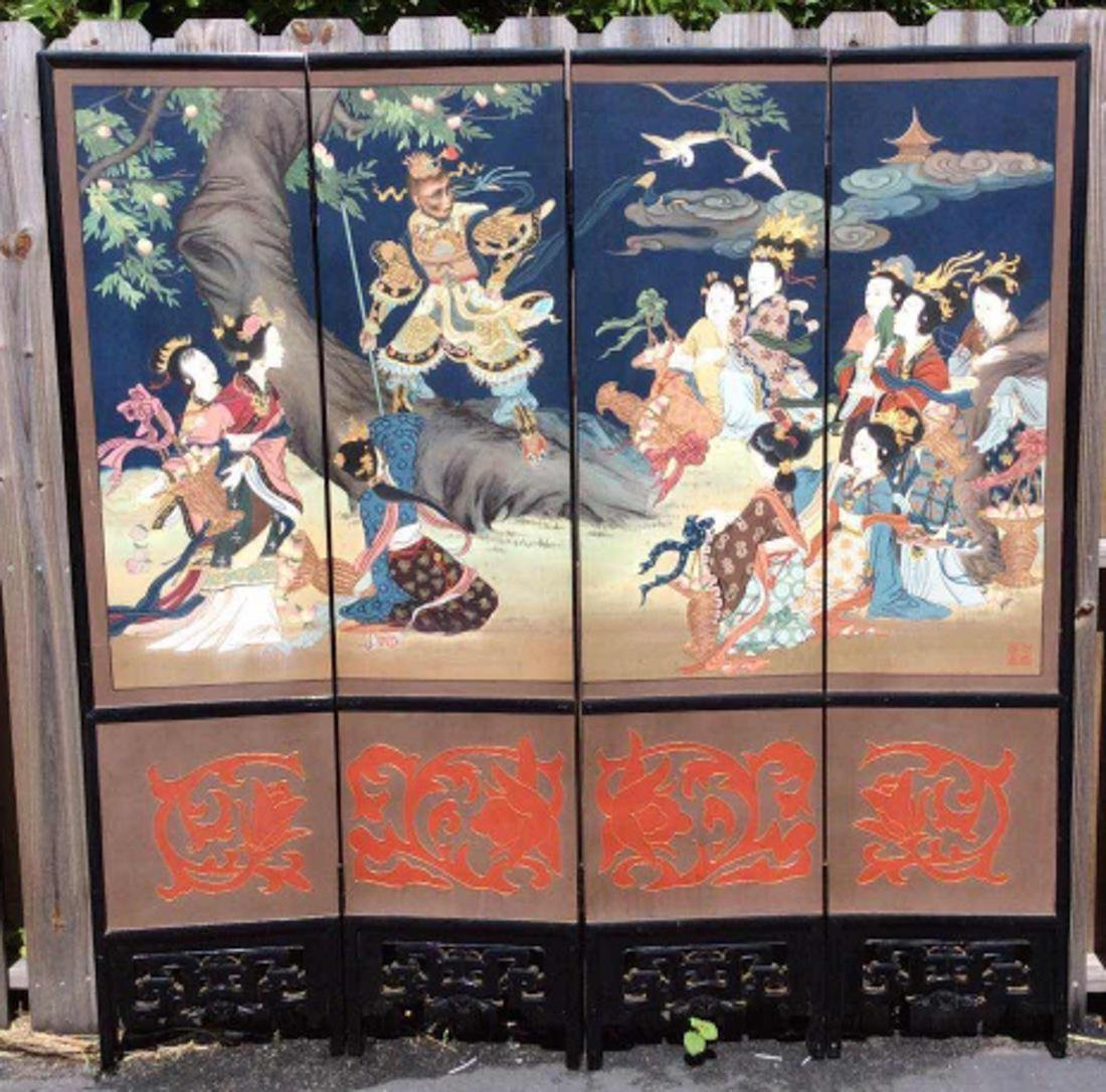Chinese Lacquer Wood Floor Screen