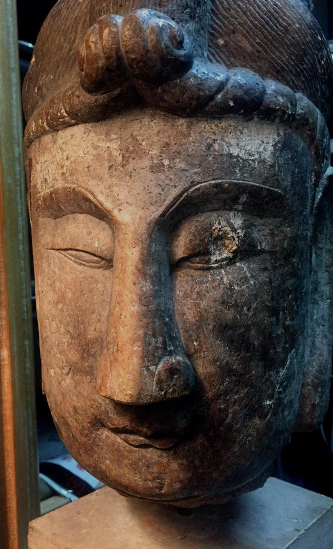 Antique Chinese Stone Head of Kuanyin
