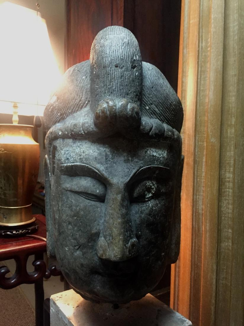 Antique Chinese Stone Head of Kuanyin - 2