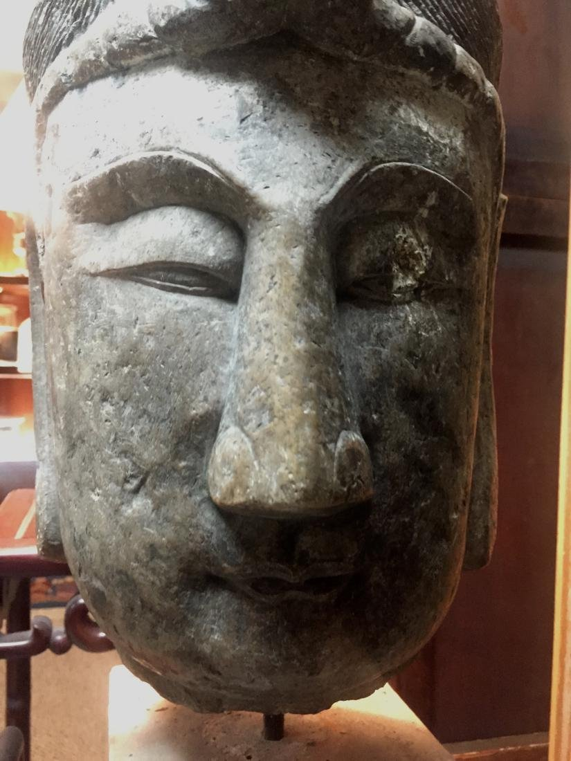 Antique Chinese Stone Head of Kuanyin - 3
