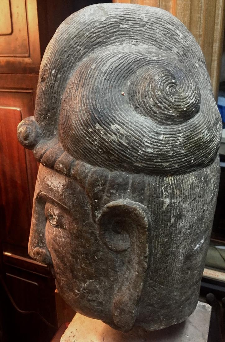 Antique Chinese Stone Head of Kuanyin - 6