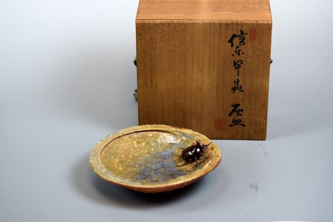 Unusual Japanese Ceramic Bowl with Insect