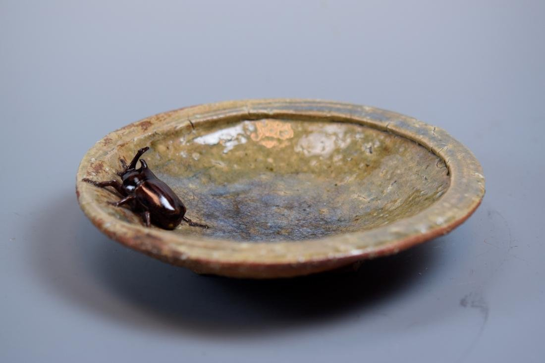 Unusual Japanese Ceramic Bowl with Insect - 5