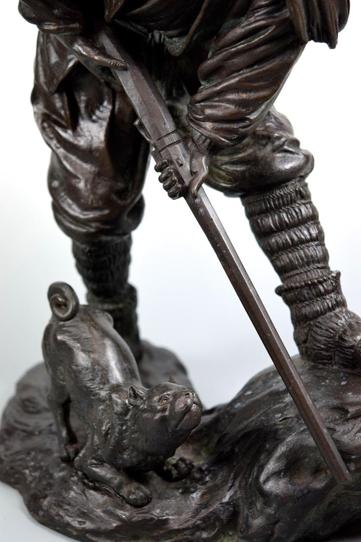 Japanerse Bronze Hunter with Dog - 5