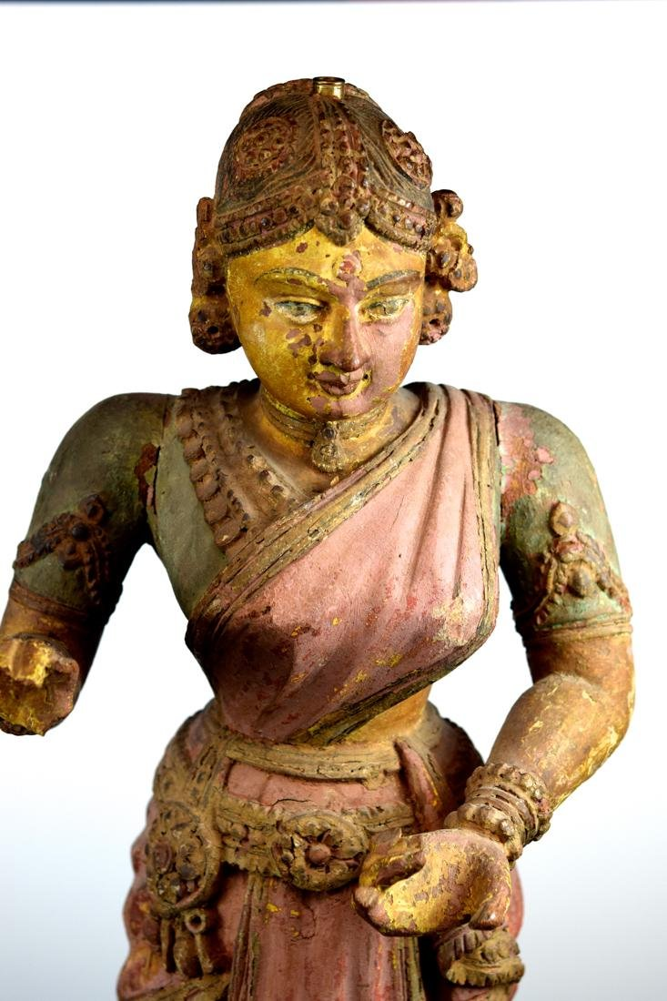 Antique Indian Polychrome Wood Figurine